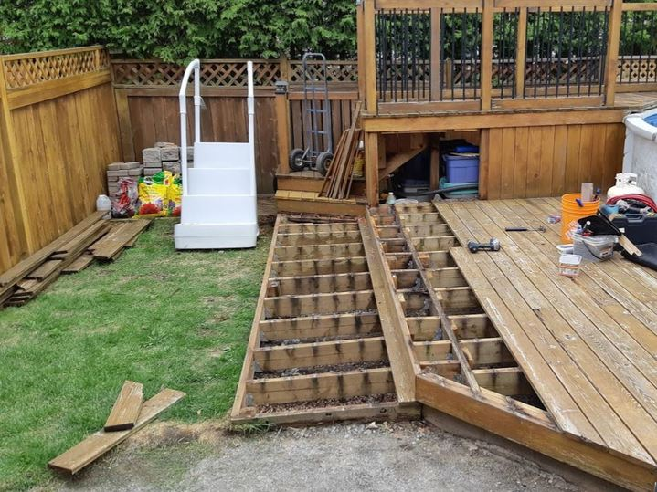 old deck with rotting wood