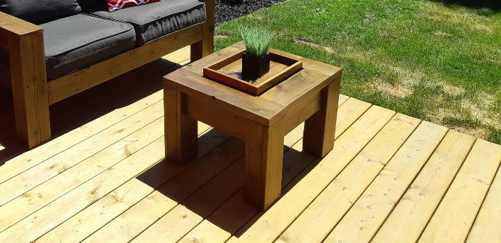 Outdoor coffee table made from reclaimed wood with tray and ice bucket