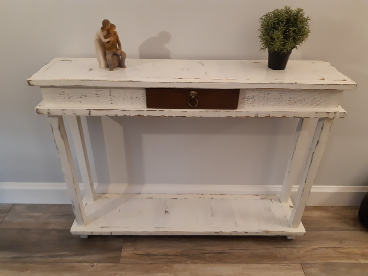 Hallway table with antique white finish