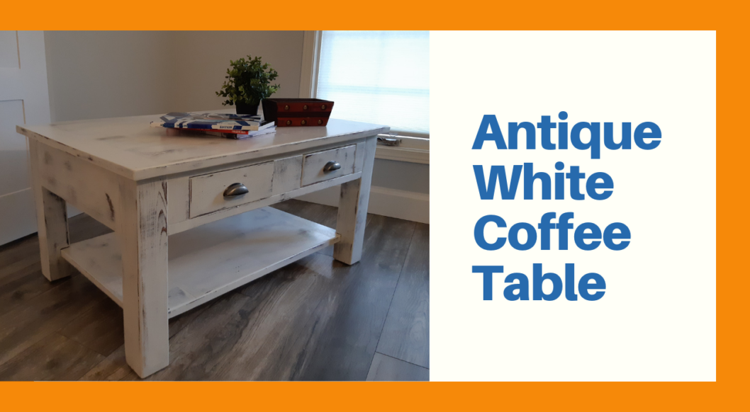 Antique White Coffee table shaker style with 4 drawers