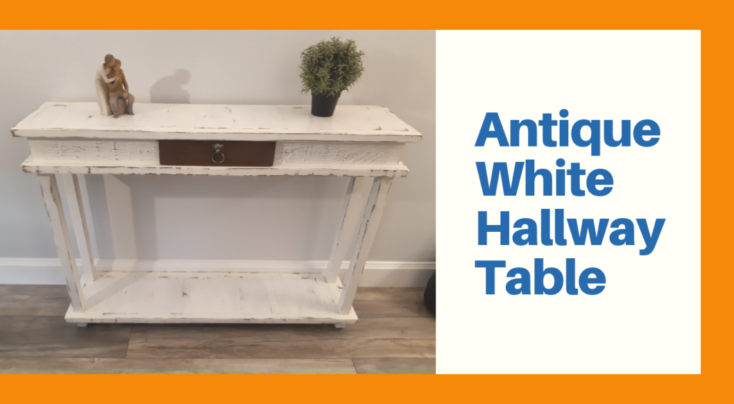 Antique White Hallway Table with dark drawer