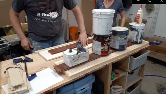 Assembling top and bottom shelf for hallway table