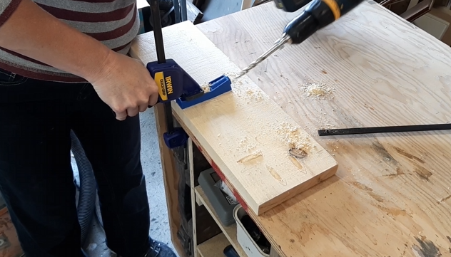 Brenda drilling pocket holes