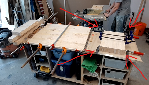 Glued pieces of wood to make legs shown by arrows