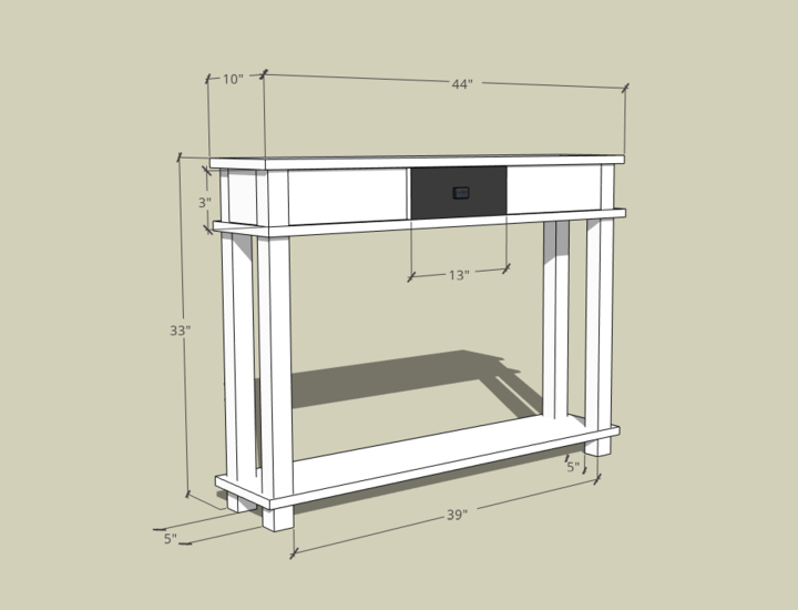 Hallway Table in Sketchup image