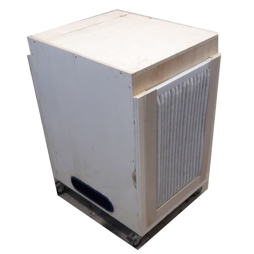 Outside of the shop air filtration cabinet with air blower output