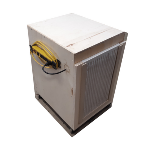 Outside of the shop air filtration cabinet with power bar