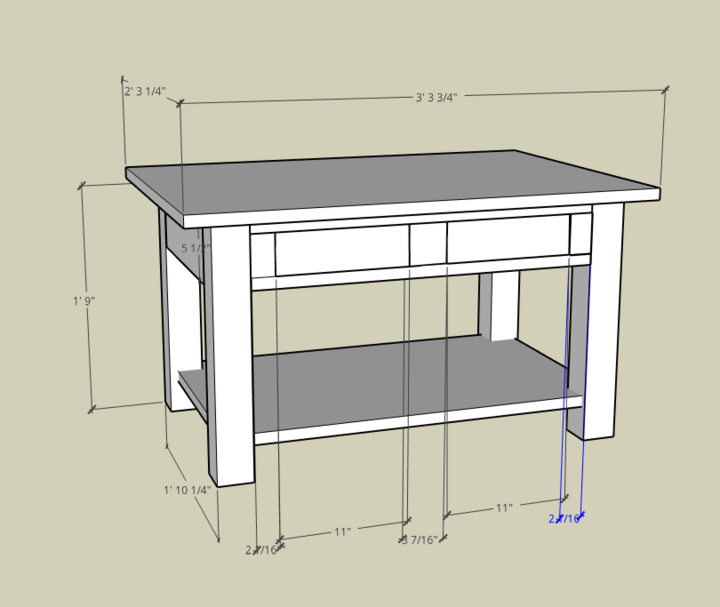 Shaker Style Coffee Table designed in Sketchup