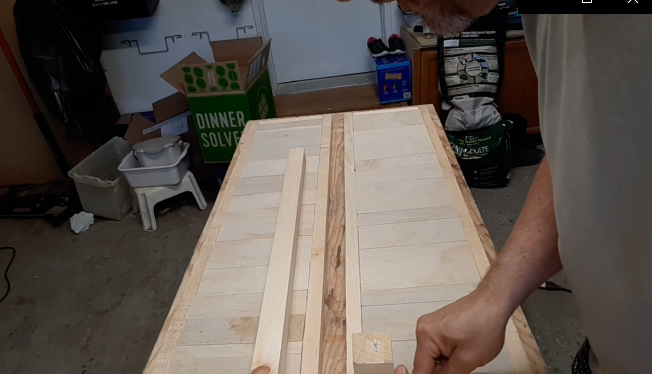 Top and bottom shelf glued up for the hallway table