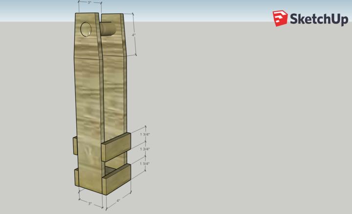 Wood wine bottle carrier plan in Sketchup