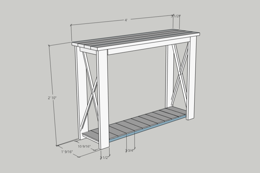 Rustic Hallway Table made in Sketchup