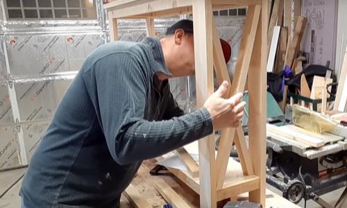 Rustic Hallway Table assembling the cross bracing
