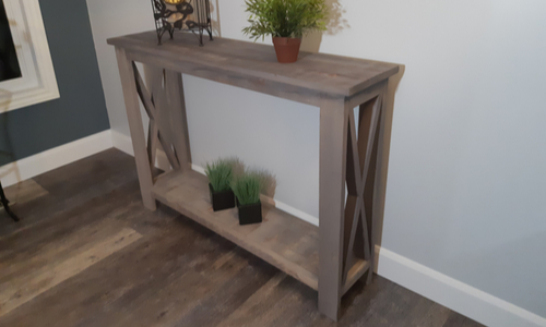 Rustic Hallway Table completed and in showroom using weathered wood accelerator