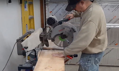 Rustic Hallway Table cutting with a miter compound saw