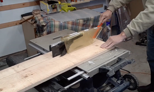 Rustic Hallway Table cutting with a table saw