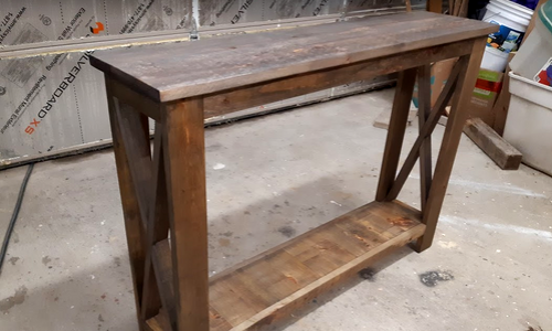 Rustic Hallway Table final finished appearance