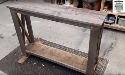 Rustic Hallway Table finished using weathered wood accelerator