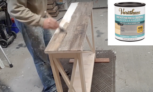 Rustic Hallway Table finishing using weathered wood accelerator