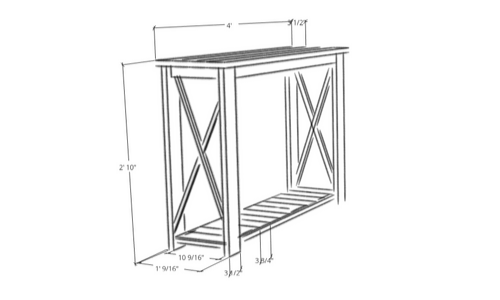 Rustic Hallway Table plan done in Sketchup