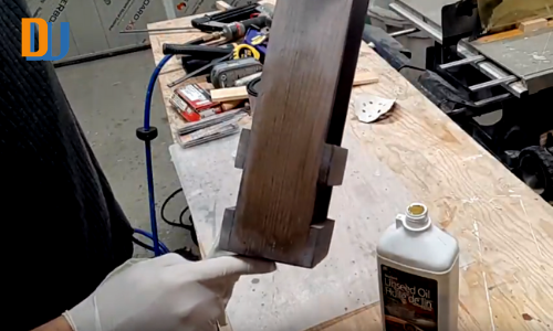 linseed oil application on wood for wine bottle carrier