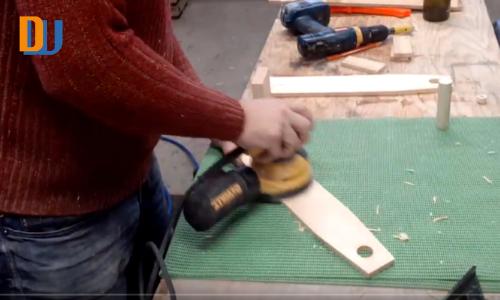 sanding wood for wine bottle carrier