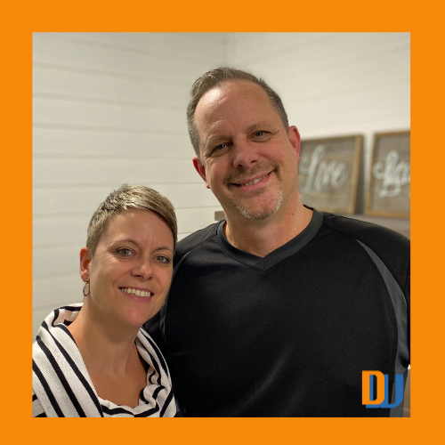 Paul and Brenda at DustyWorkbench orange border -Nov 2019