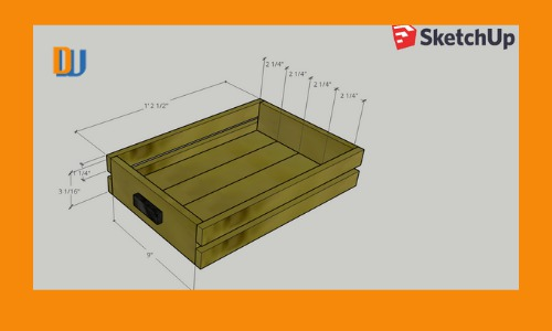 Rustic Wood Serving Tray in SketchUp with dimensions