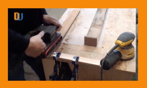 Wood box centerpiece sanding wood