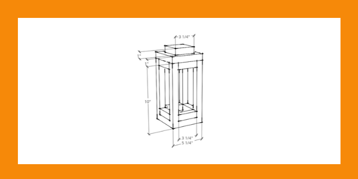Rustic Wooden candle Lantern Sketch