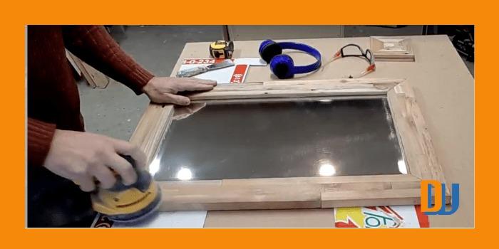 Final sanding of wood for mirror frame (1)