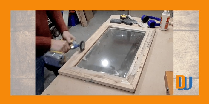 Wire Brush on wood for mirror frame