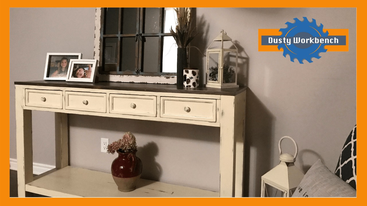 4-drawer console table using calcium carbonate diy chalk paint