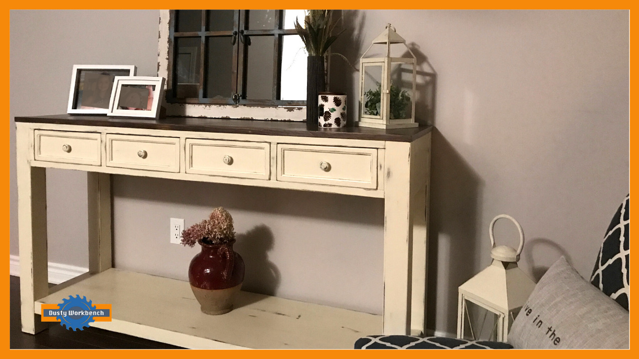 completed 4 drawer console table
